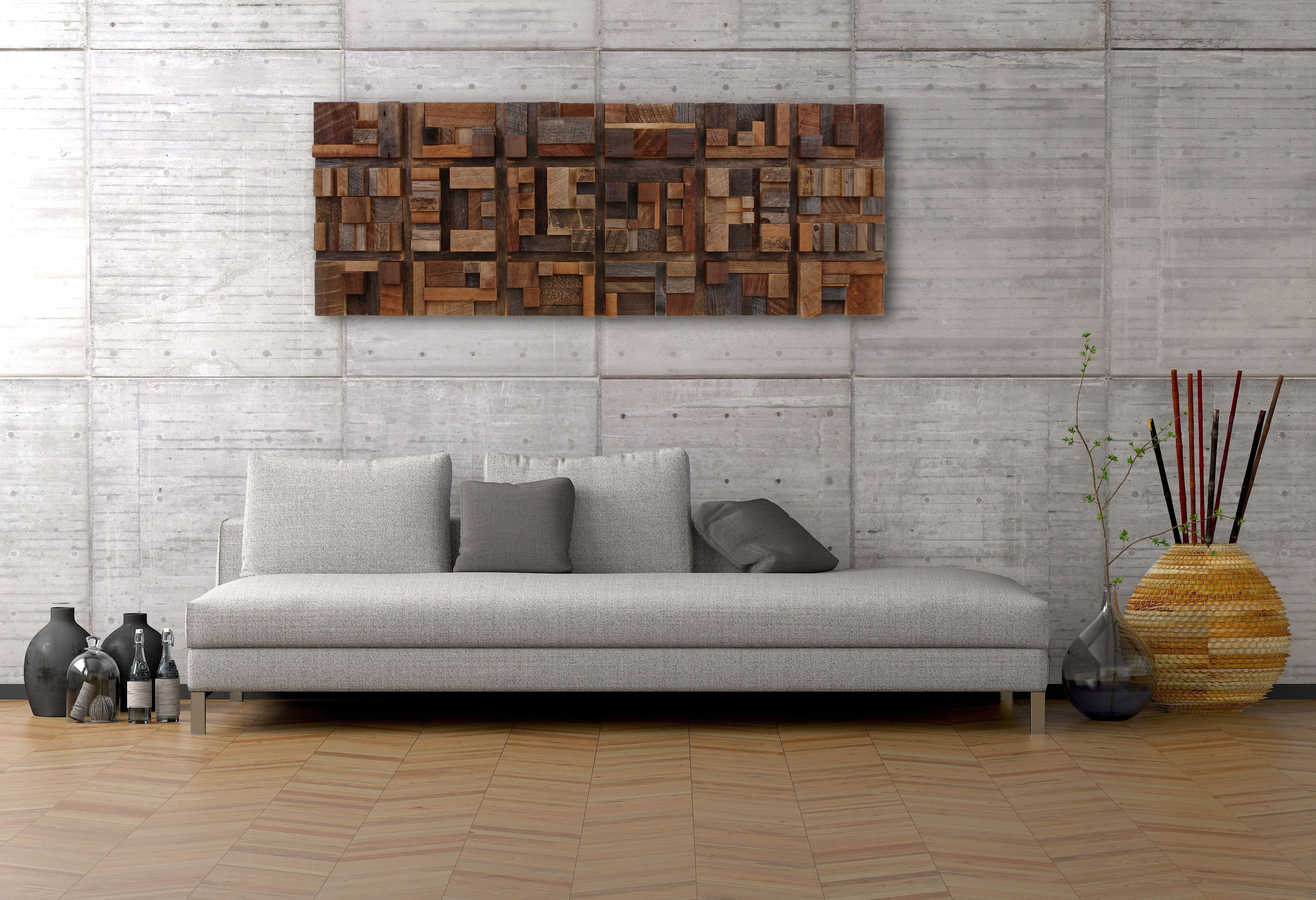 Handmade Wood Wall Art Of Geometric Shapes, Reclaimed Barnwood Inside Newest Personalized Wood Wall Art (View 6 of 15)