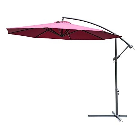 Hanging Offset Patio Umbrellas With Regard To Popular Amazon : Outsunny 10' Steel Hanging Offset Patio Umbrella With (View 10 of 15)
