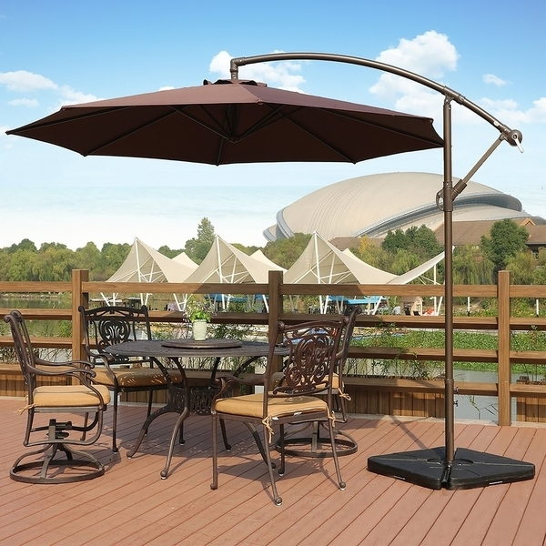 Hanging Offset Patio Umbrellas within Preferred Shop Weller 10 Ft Offset Cantilever Hanging Patio Umbrellawestin