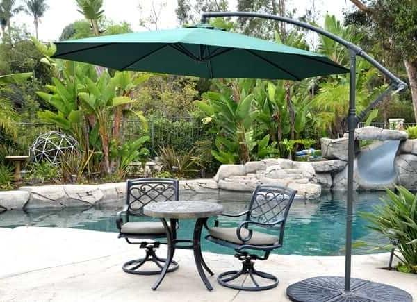 Hanging Patio Umbrellas Regarding Most Popular Offset Patio Umbrella – Green 10' Adjustablequality Patio Umbrellas (View 3 of 15)