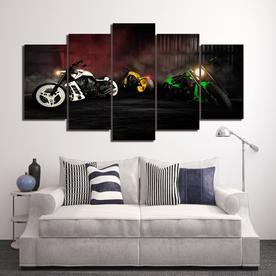 Harley Davidson Wall Art With Popular Harley Davidson Sport Motor 5 Pieces Canvas Framed Printed Wall Art (View 14 of 15)