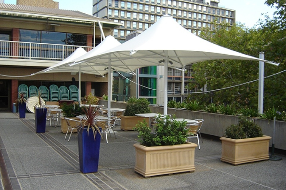 Heavy Duty Patio Umbrellas Regarding Widely Used Permanent Umbrellas – Weathersafe Shade Sails & Outdoor Structures (Gallery 5 of 15)
