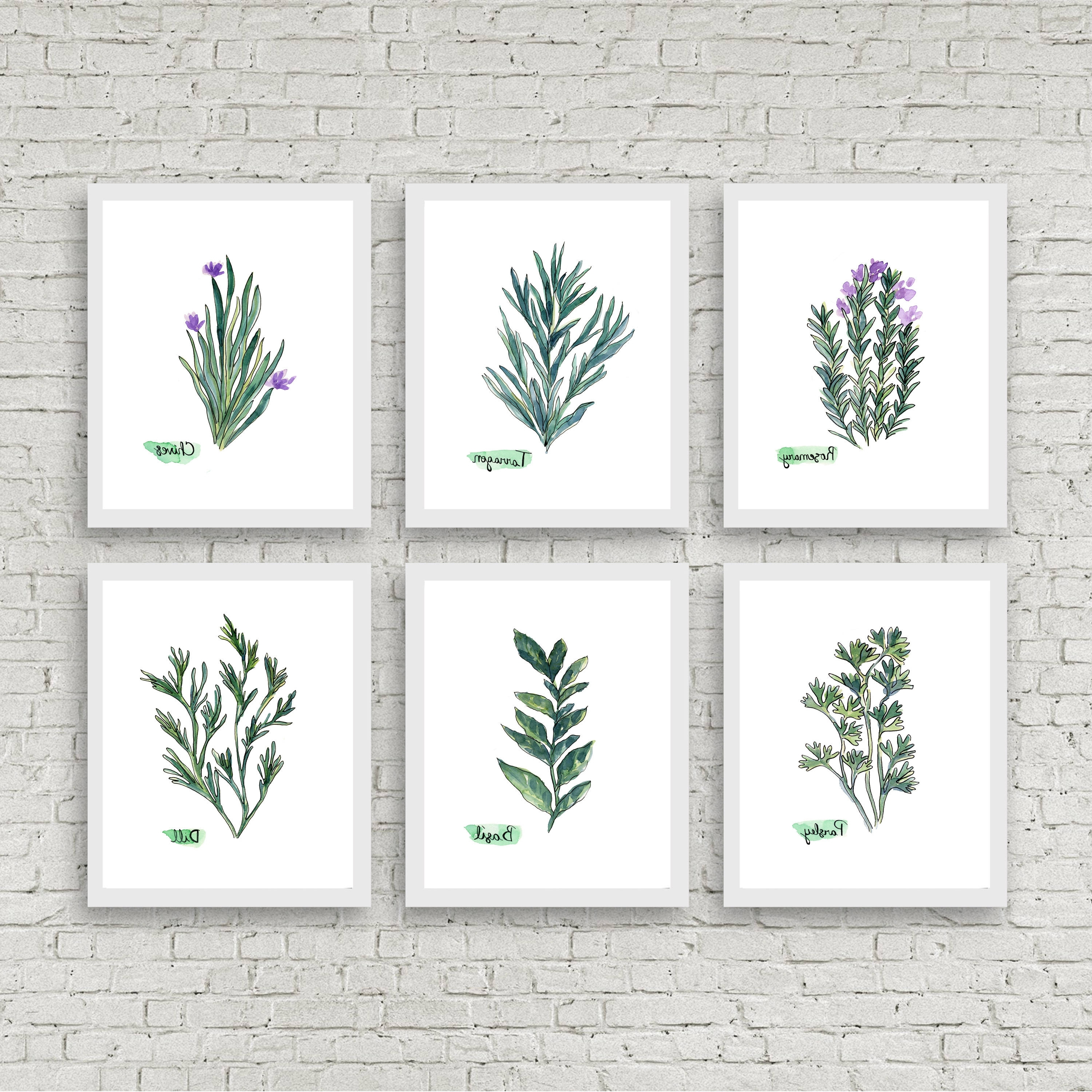 Herb Wall Art Throughout Most Up To Date Watercolor Herb Print Set Of 6 Watercolor Green Botanical Prints (View 10 of 15)