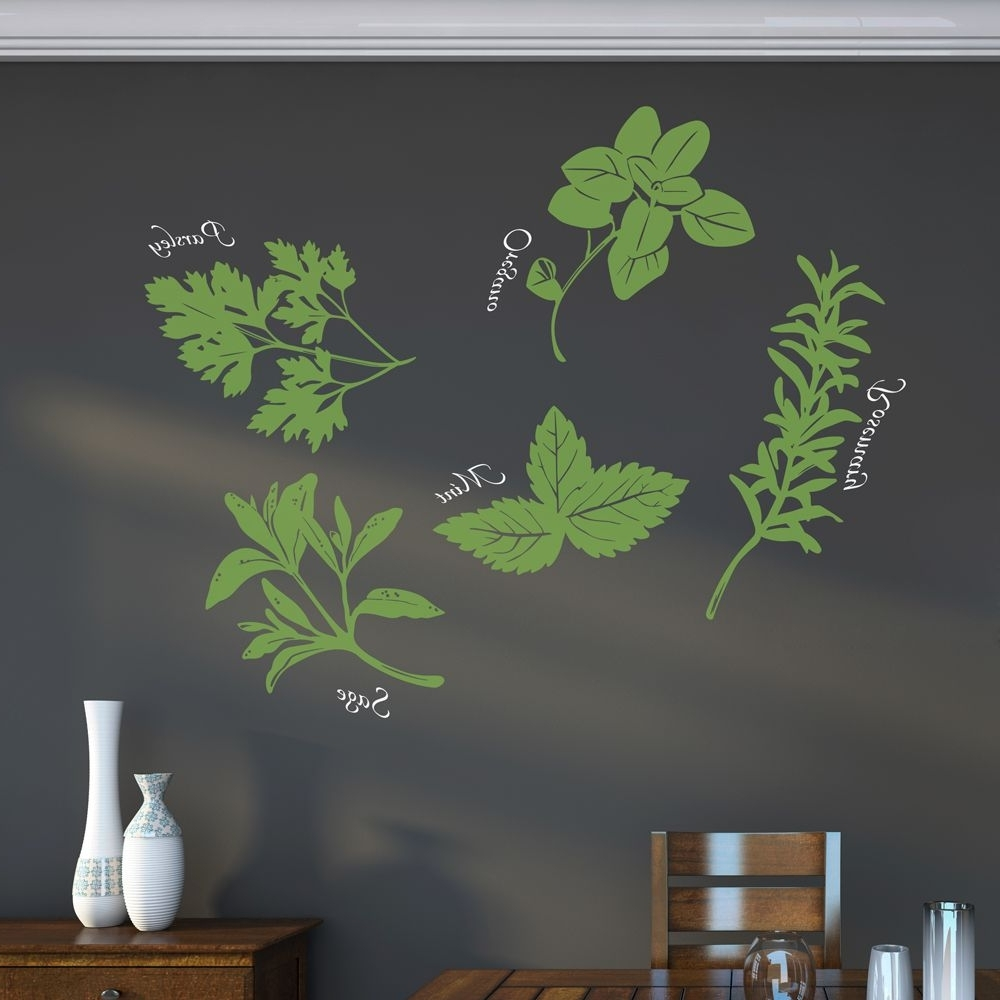 Herb Wall, Wall Art Decal And Herbs (Gallery 2 of 15)