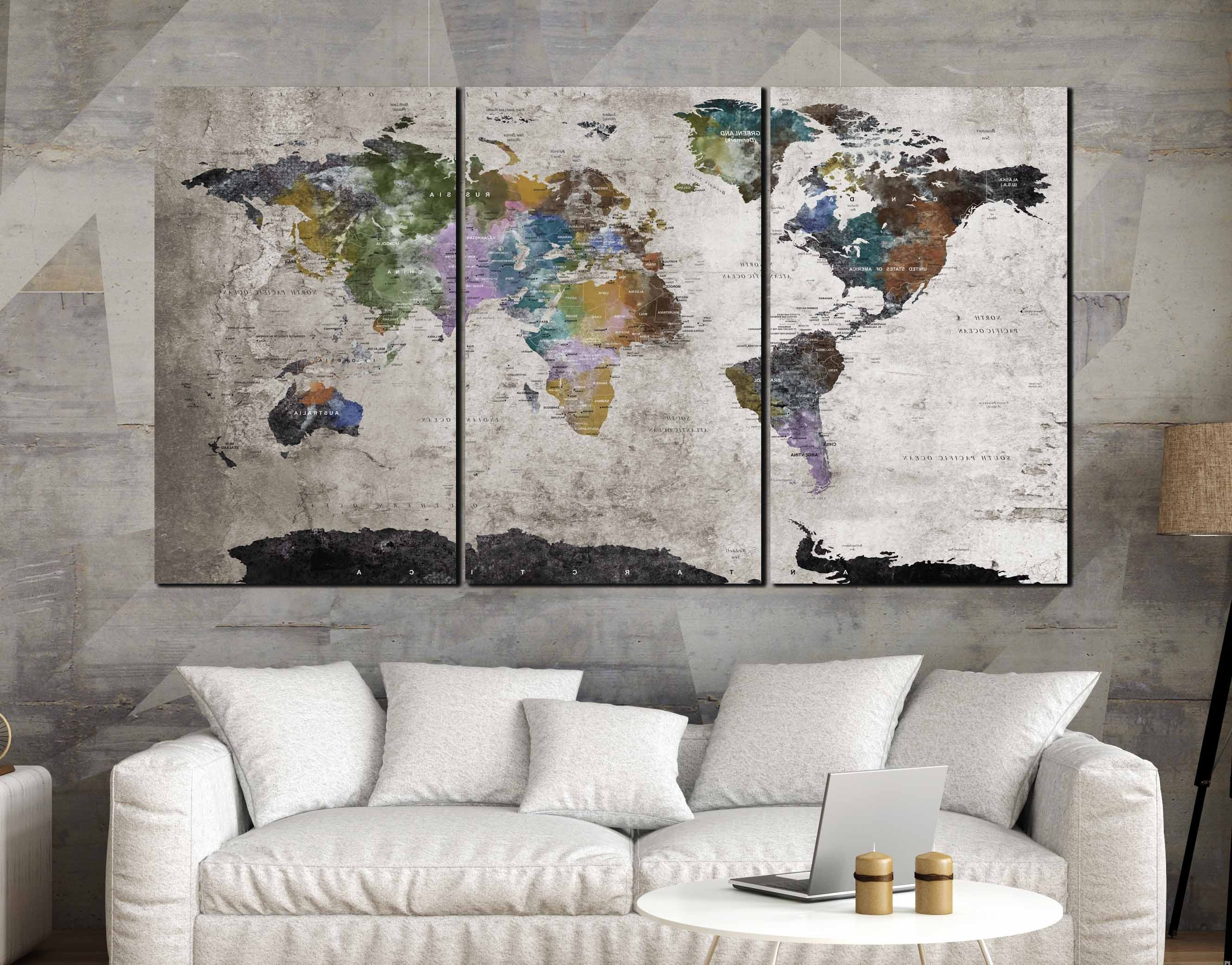 Highly Detailed World Map Wall Art,large World Map, World Map Canvas Pertaining To Latest Wall Art Map Of World (View 4 of 15)