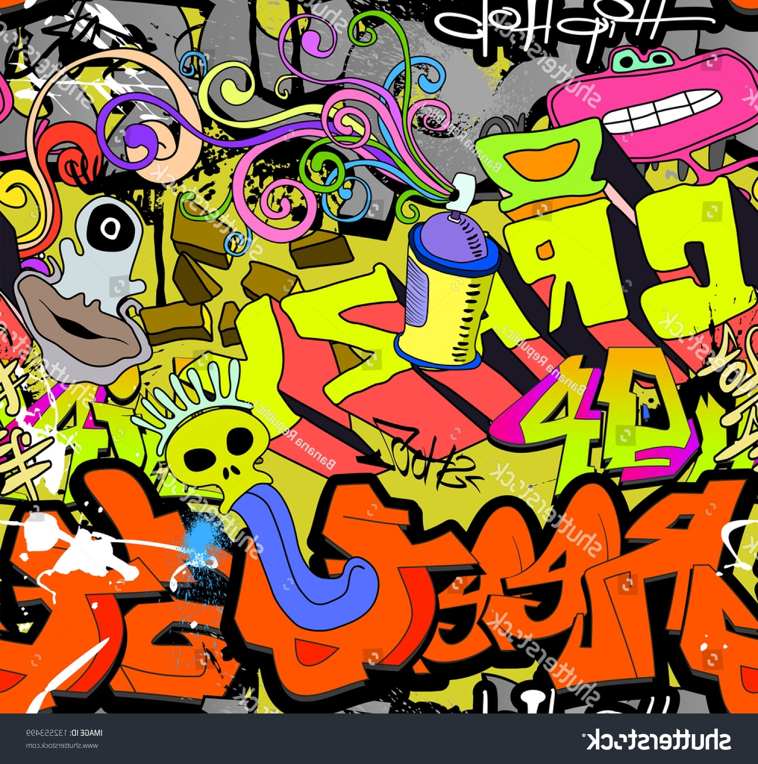 Hip Hop Wall Art Inside Popular Graffiti Wall Art Background Hiphop Style Stock Illustration (View 6 of 15)