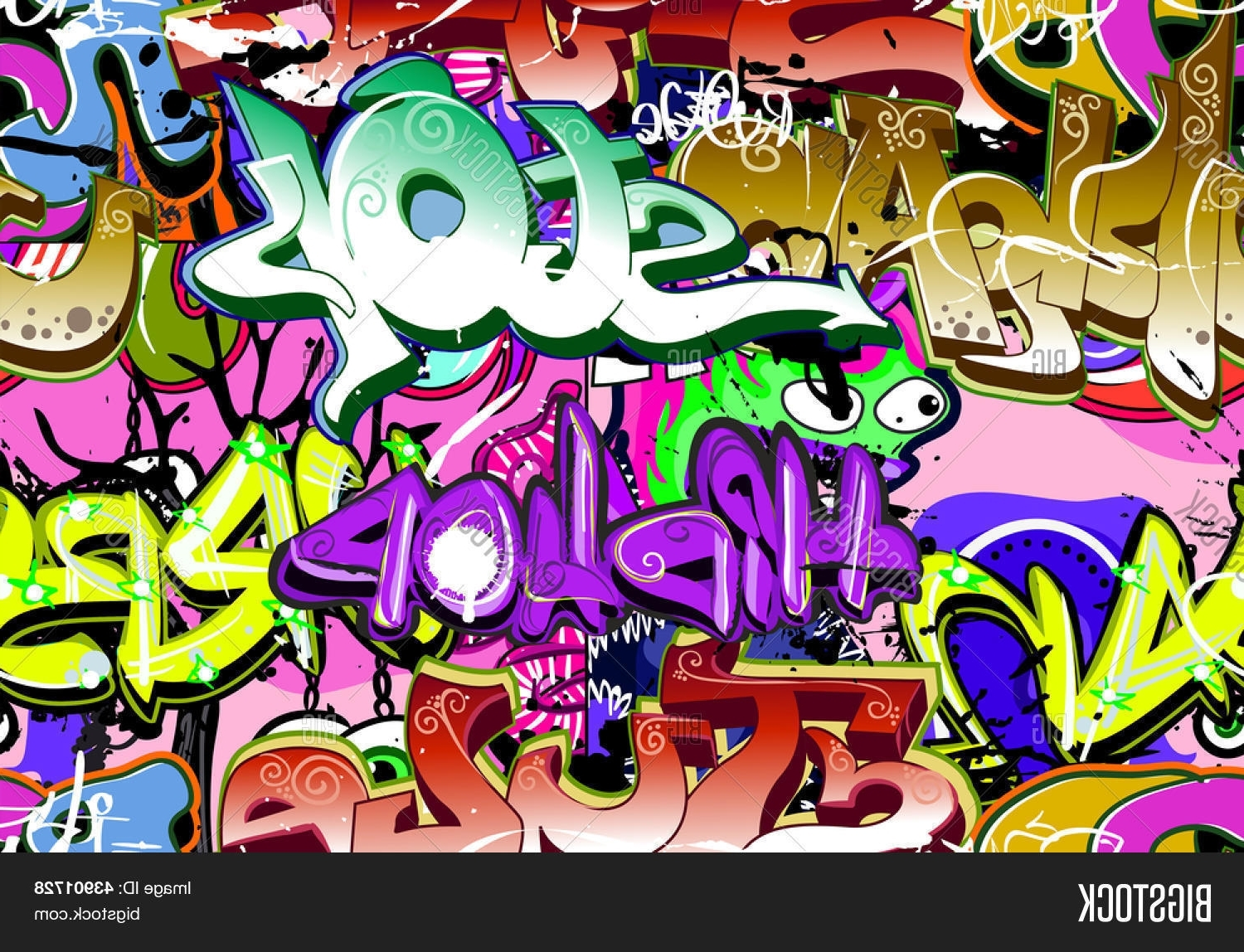 Hip Hop Wall Art Pertaining To Preferred Graffiti Wall Urban Art Background Seamless Hip Hop Image – Cg4P3901728C (View 11 of 15)