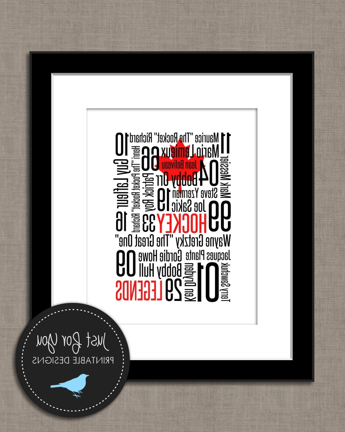 Hockey Wall Art – Canadian Legends – Subway Typography – You Print Regarding Most Recently Released Hockey Wall Art (View 9 of 15)
