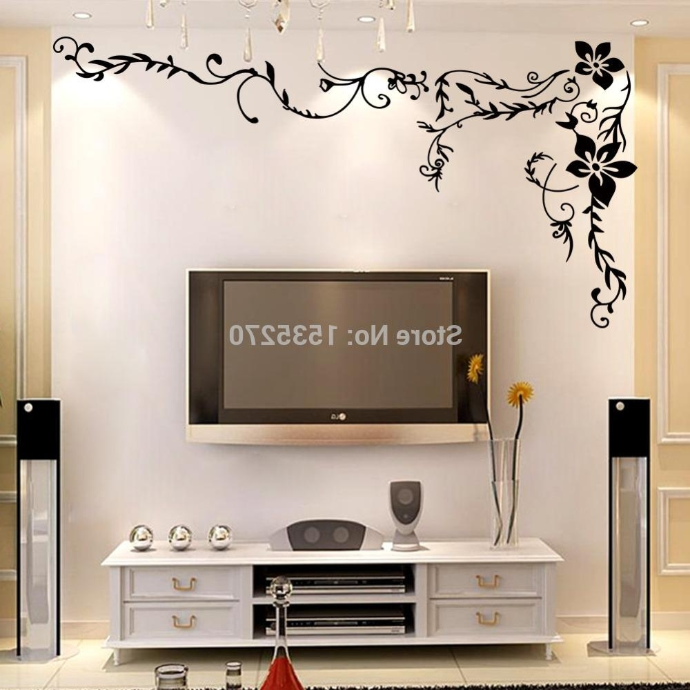 Home Wall Art Within Newest Wonderful Flower Vine Wall Stickers For Home Tv Background Wall Art (Gallery 9 of 15)