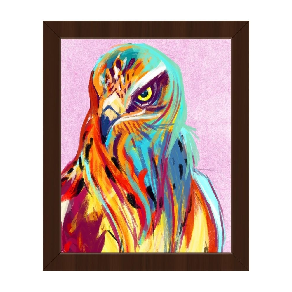 Horizon 'falcon On Pink' Framed Canvas Wall Art (View 7 of 15)