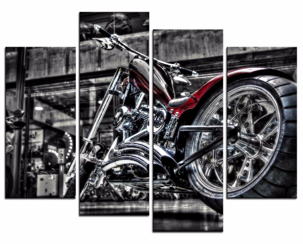 Hot Framed 4 Pieces/set Motorcycle Series Wall Art For Wall Decor Throughout Most Current Motorcycle Wall Art (Gallery 11 of 15)