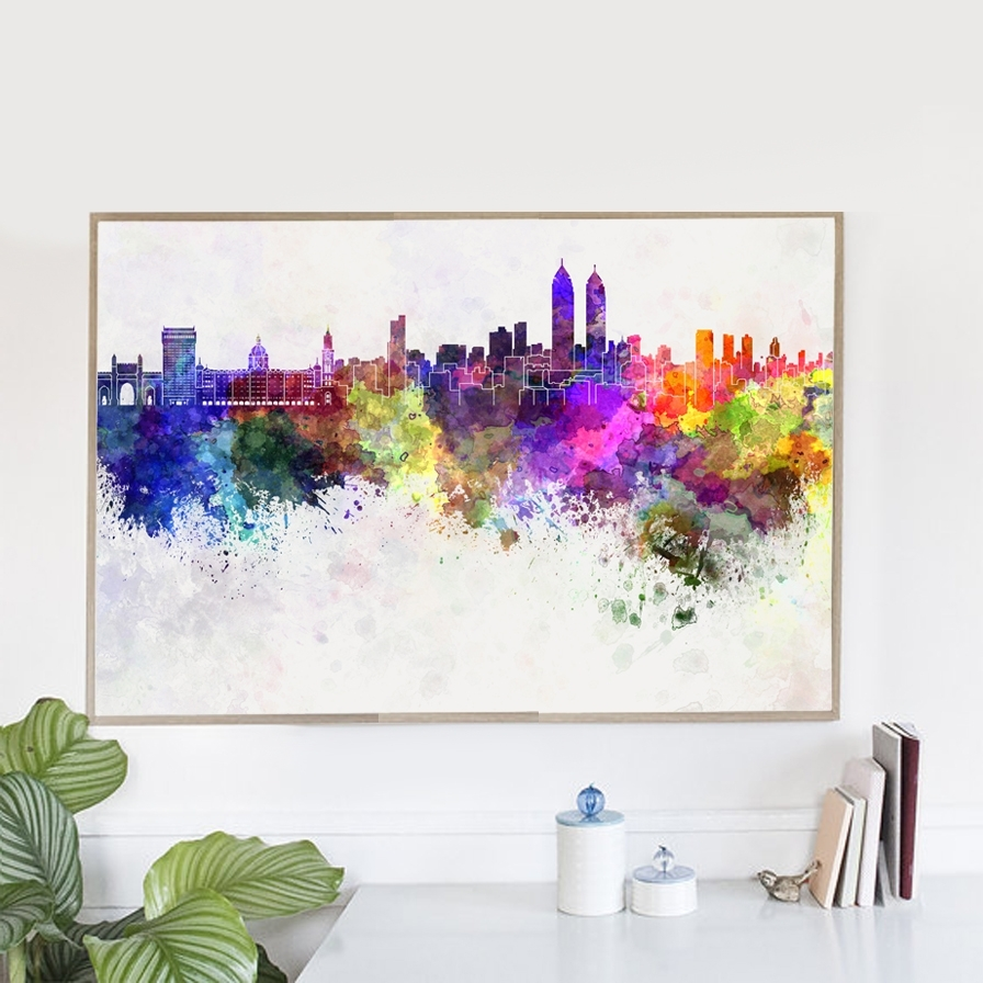 Hot Sale Watercolor Mirage Chicago City Canvas Art Print Poster Within Trendy Chicago Wall Art (View 6 of 15)