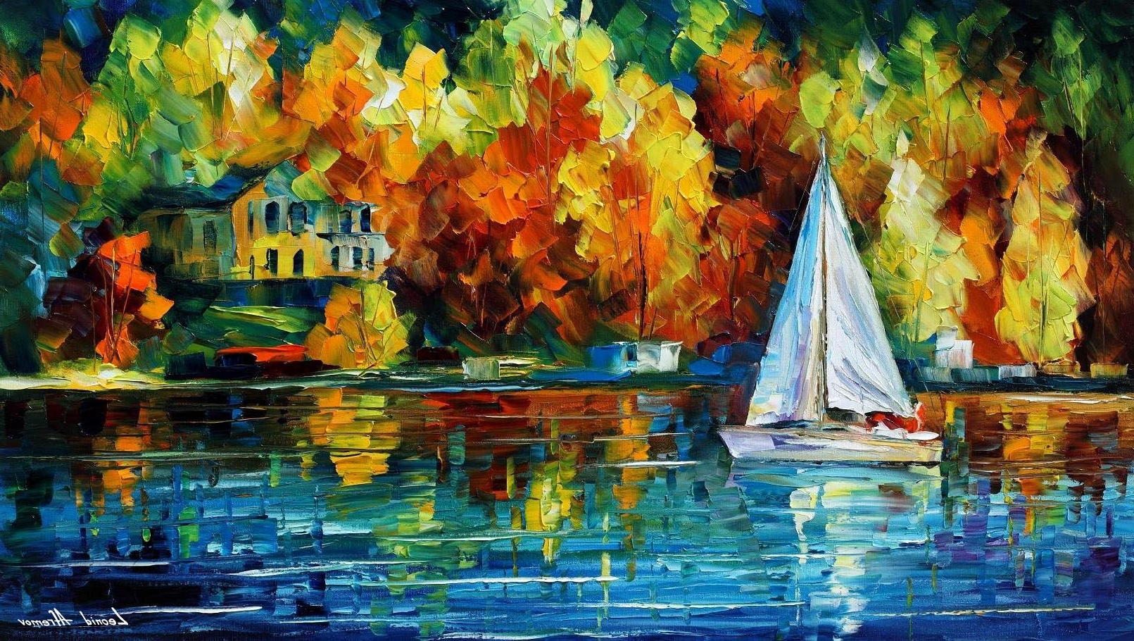 House Of The Lake — Palette Knife Oil Painting On Canvasleonid Intended For Most Recent Lake House Wall Art (View 11 of 15)