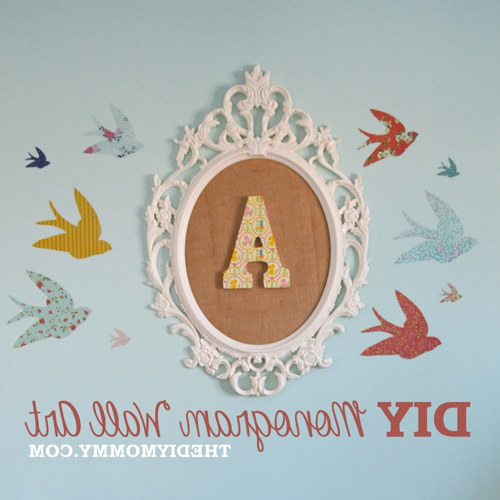How To Make Diy Monogram Art For A Nursery From An Ikea Frame And Inside Fashionable Monogram Wall Art (View 4 of 15)