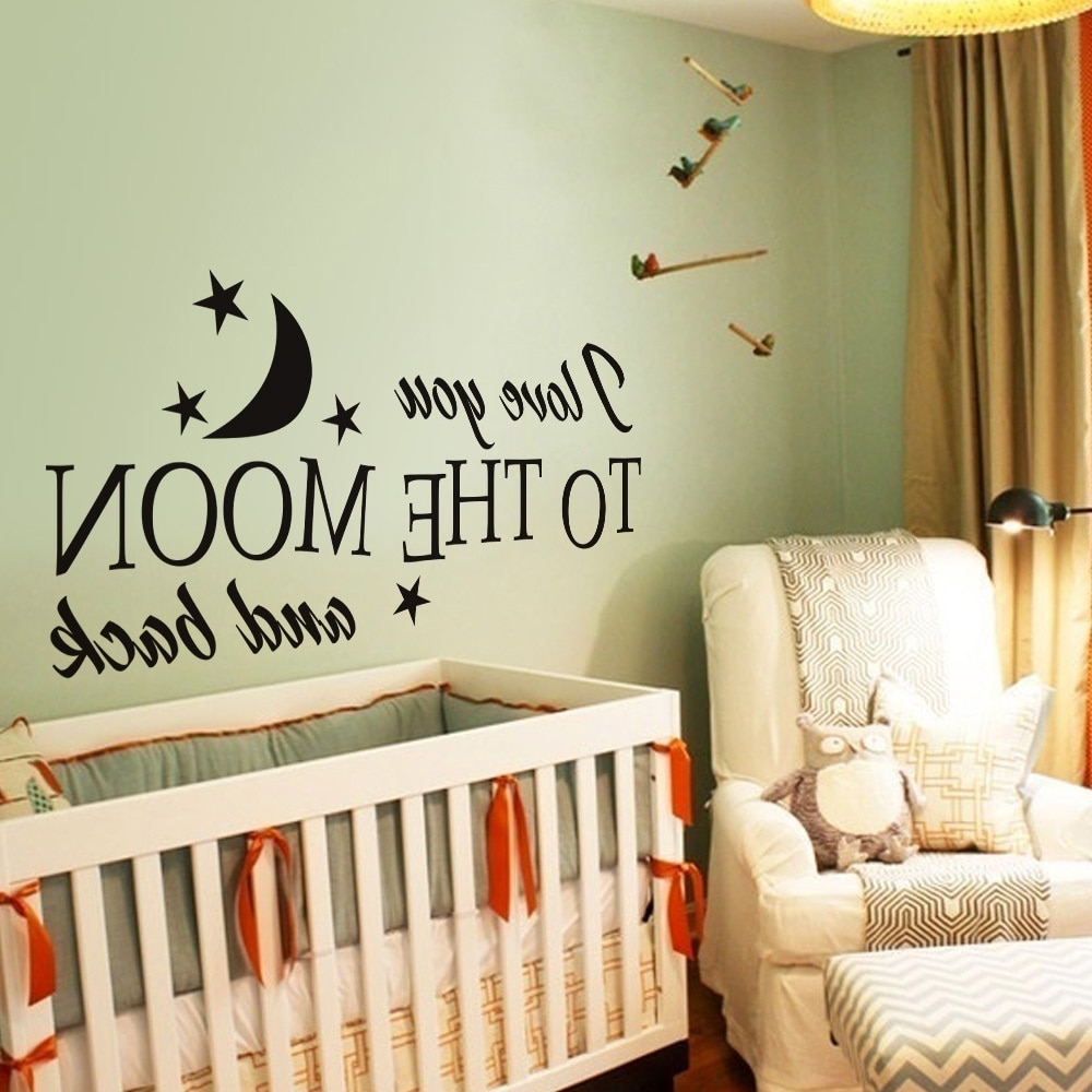 I Love You To The Moon And Back Romantic Love Vinyl Wall Decal In Most Current I Love You To The Moon And Back Wall Art (View 3 of 15)