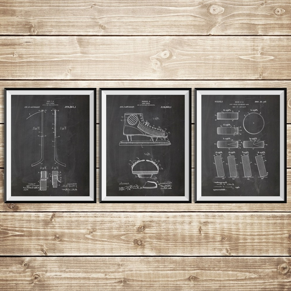 Ice Hockey Patent Posters Group Of 3, Hockey Stick, Hockey Decor With Popular Hockey Wall Art (View 14 of 15)