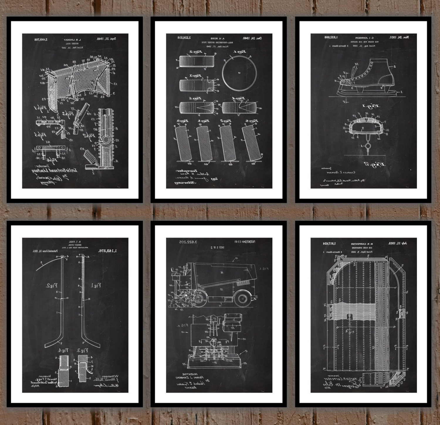 Ice Hockey Patent Print Set Of 6, Hockey Patent Prints, Hockey throughout Best and Newest Hockey Wall Art