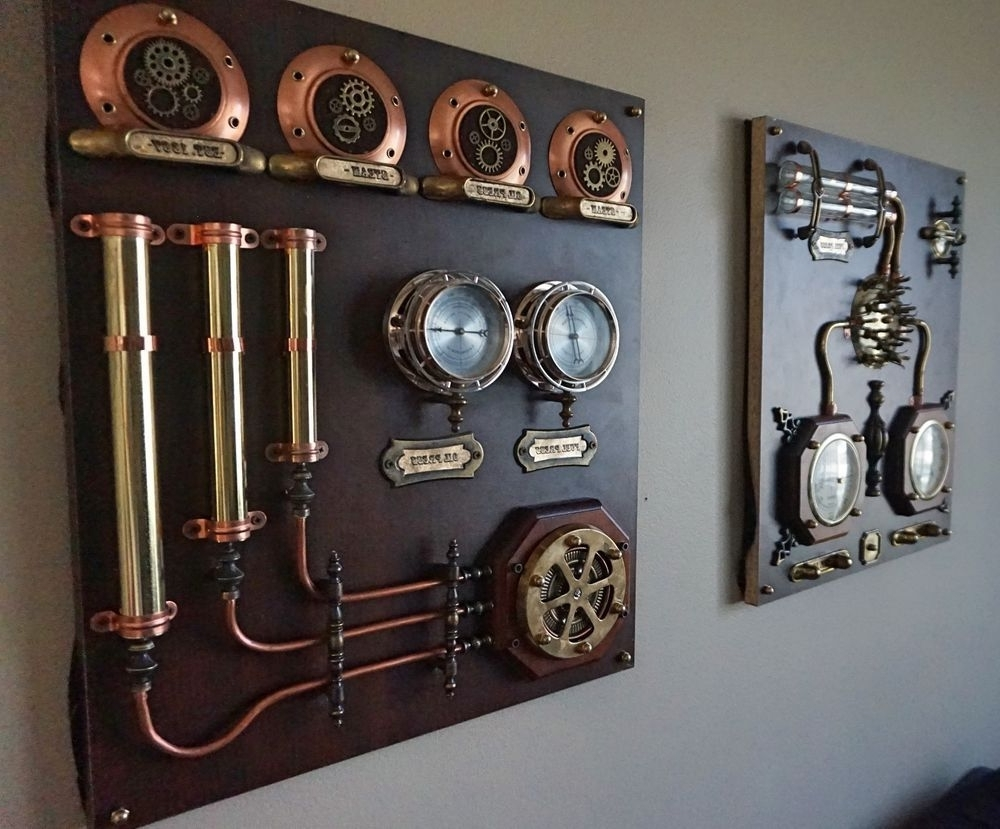 Industrial Art.control Panels - 2Pcs.steampunk,wall Art,home Decor regarding Most Recently Released Steampunk Wall Art