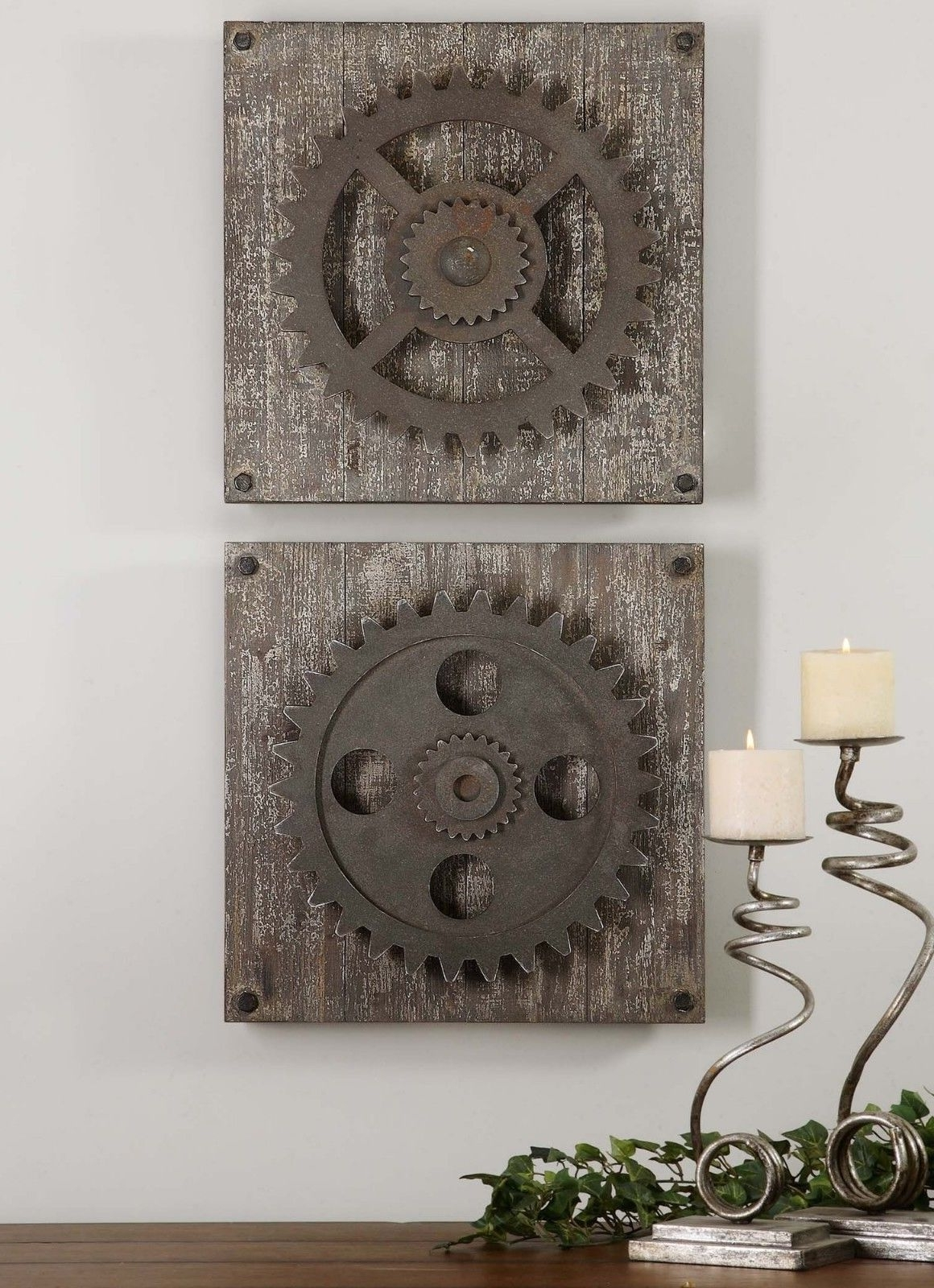 Industrial Wall Art Intended For Trendy Urban Industrial Loft Steampunk Decor Rusty Gears Cogs 3D Wall Art (View 4 of 15)