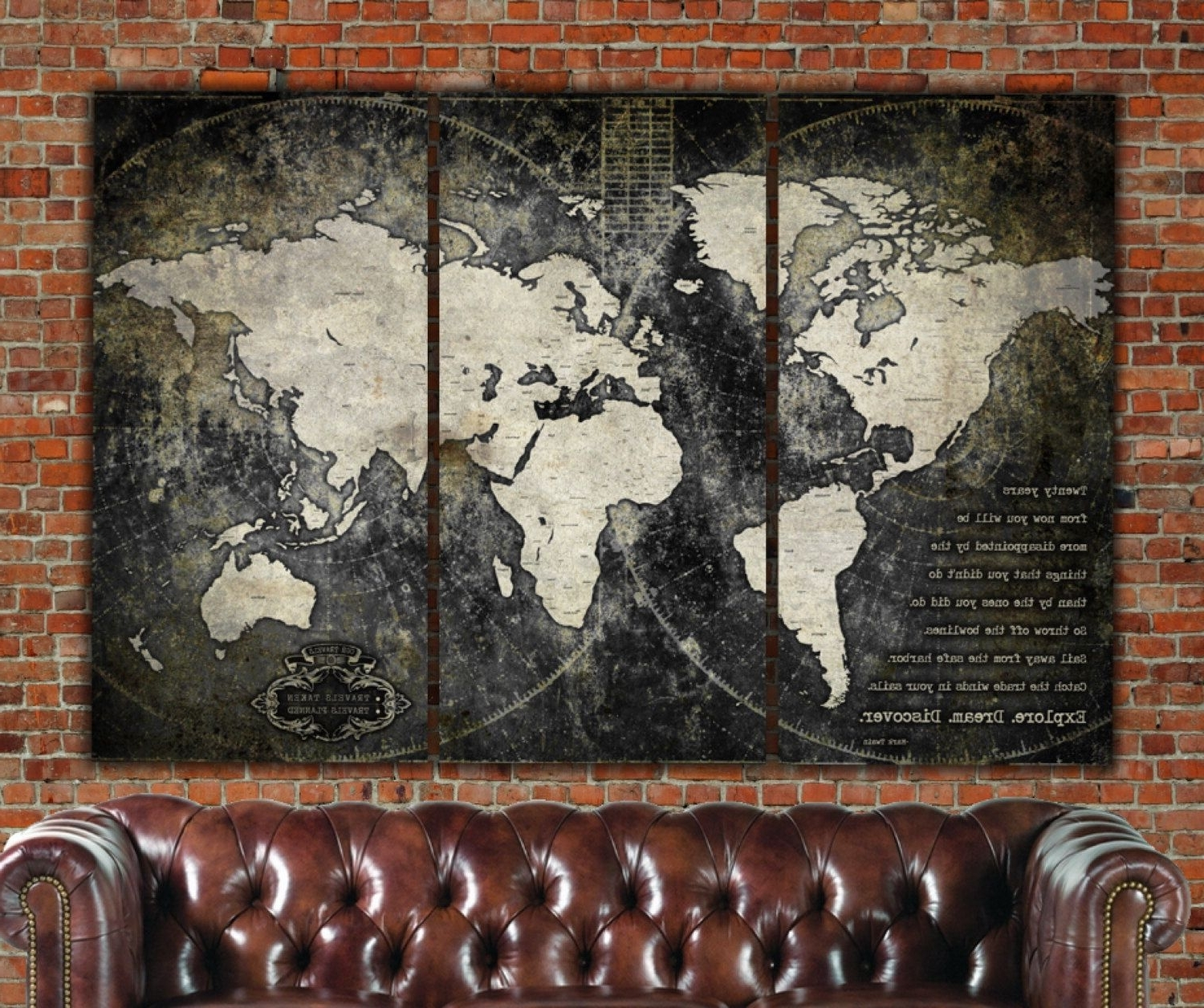 Industrial World Map On Canvas, Vintage Map, Large Wall Art In Newest Vintage Map Wall Art (View 9 of 15)