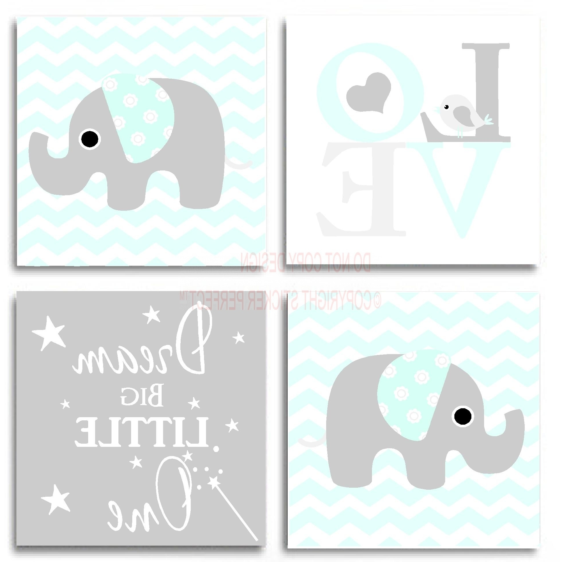Inspirational Wall Art Canvas Inside Newest Framed Canvas Print Love 4 Piece Set Cute Elephant Bird (View 4 of 15)