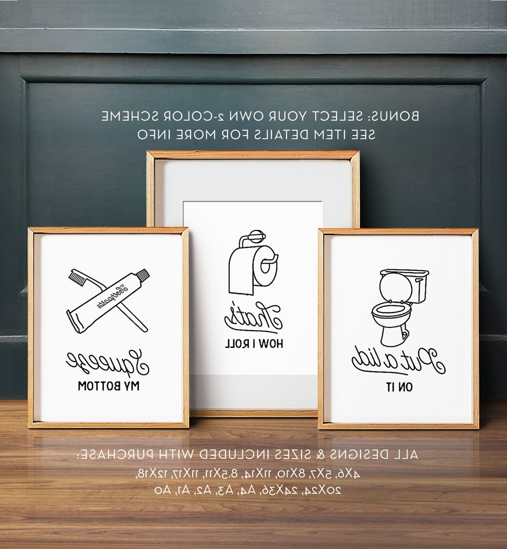 Install The Best Bathroom Wall Art To Enhance The Décor And Grace Of with Recent Bathroom Wall Art