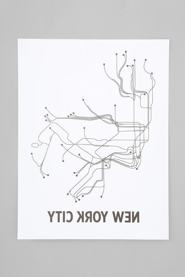 Interior And in Most Popular New York Subway Map Wall Art