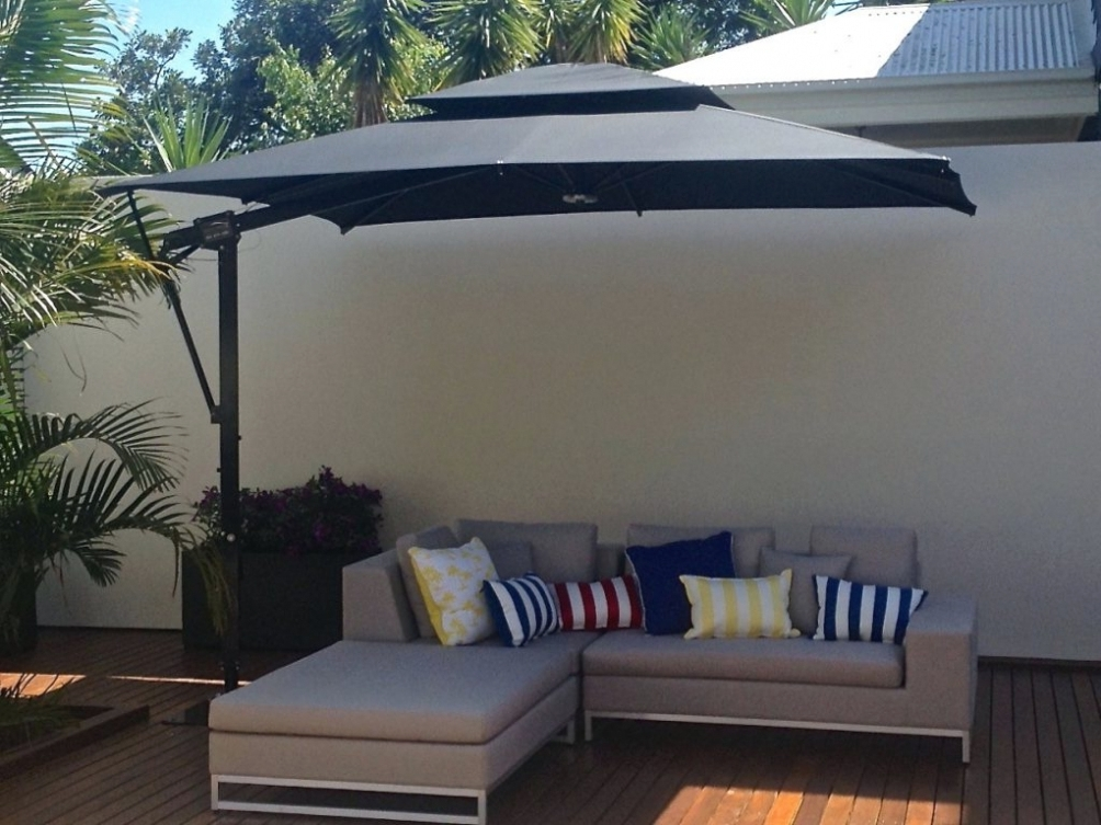 Interior Decor: Lighting : Rectangular Patio Umbrella With Solar within Latest Offset Rectangular Patio Umbrellas