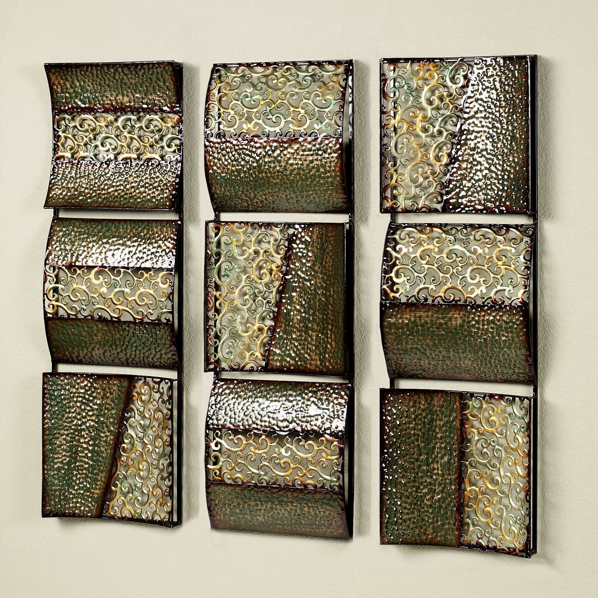 Intermission In Green Metal Wall Art Panel Set for Trendy Metal Wall Art Panels