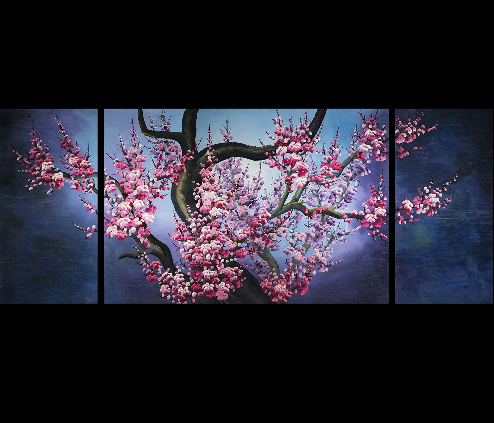 Japanese Cherry Blossom Painting Abstract Art Canvas Wall Art In Best And Newest Japanese Wall Art (View 6 of 15)