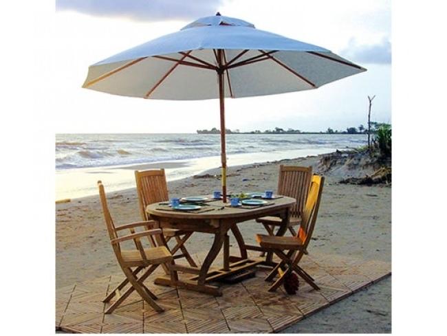 Jewel Patio Umbrellas inside Widely used Jewels Of Java Wood Market Umbrella 11.5 Diameter (Joj-Ben-Ju350Na
