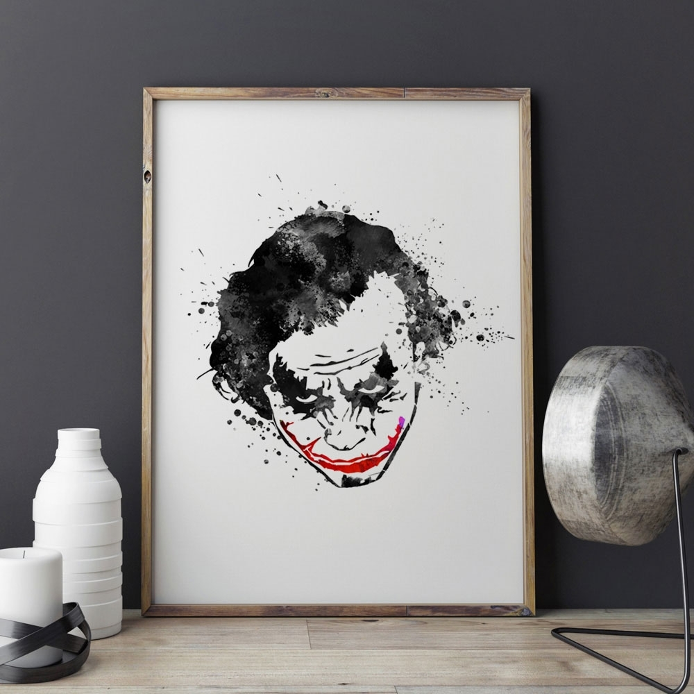 Joker Wall Art For Newest Black Joker Watercolor Nursery Why So Serious The Dark Knight Black (View 4 of 15)
