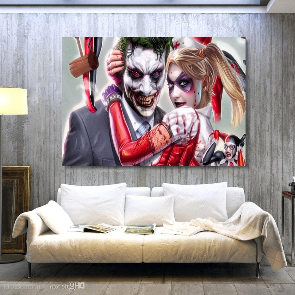 Joker Wall Art with Most Recently Released 2018 Joker Harley Quinn Comics Wall Art Canvas Pictures For Living