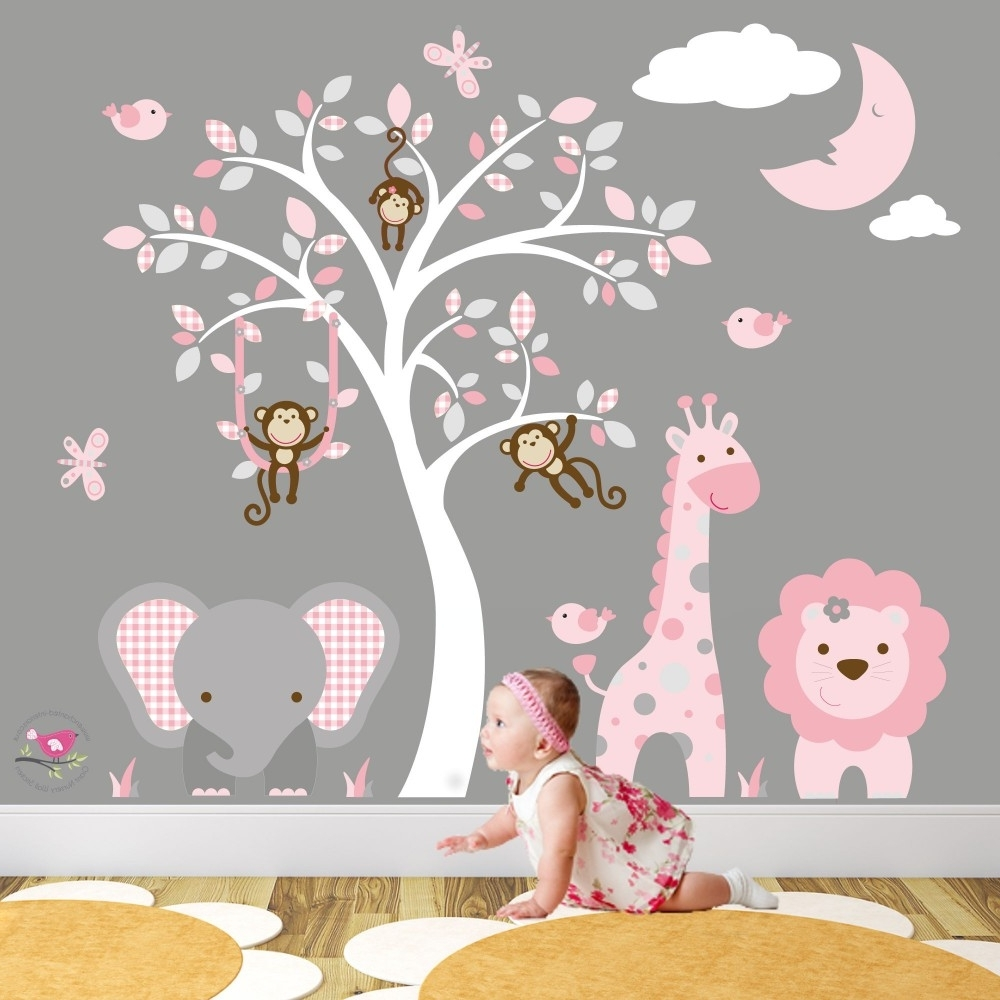 Jungle Animal Nursery Wall Art Stickers in Most Up-to-Date Baby Room Wall Art