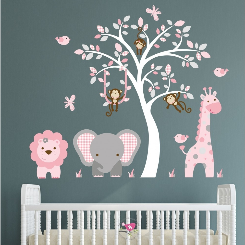 Jungle Animal Nursery Wall Art Stickers Intended For Most Recent Baby Wall Art (Gallery 12 of 15)