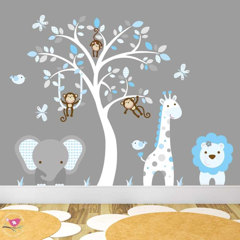 Jungle Animal Nursery Wall Art Stickers Throughout Preferred Wall Art Decals (View 12 of 15)