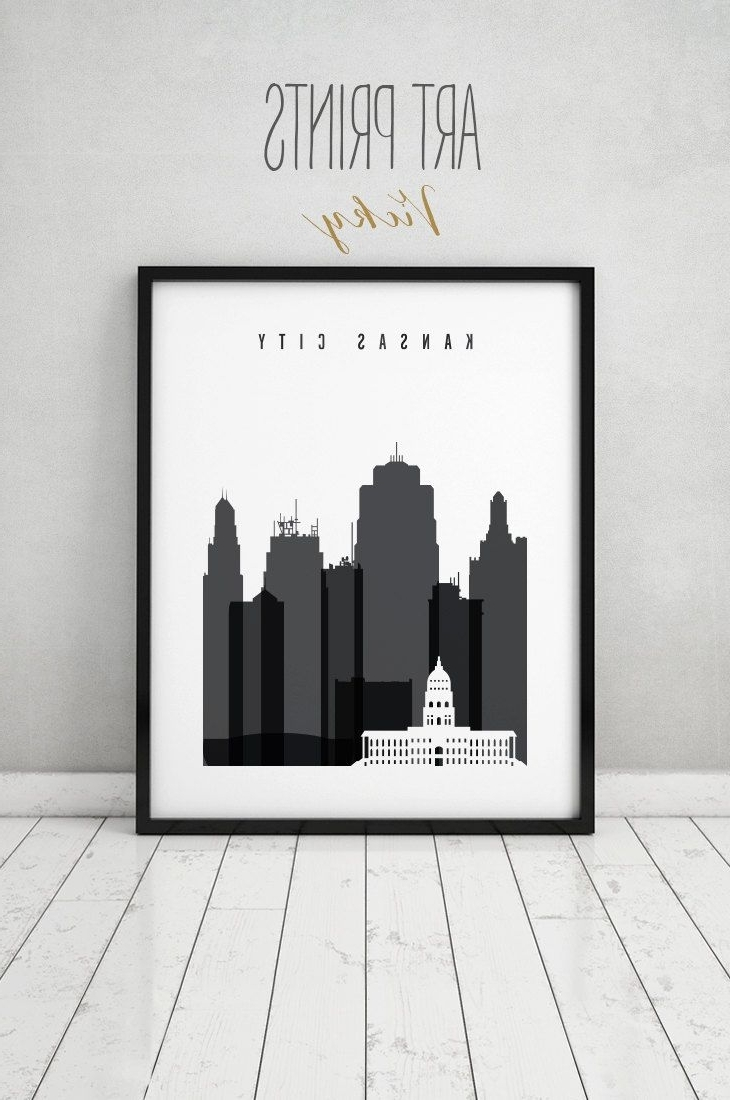 Kansas City Wall Art within Newest Kansas City Black And White Print, Poster, Wall Art, Travel