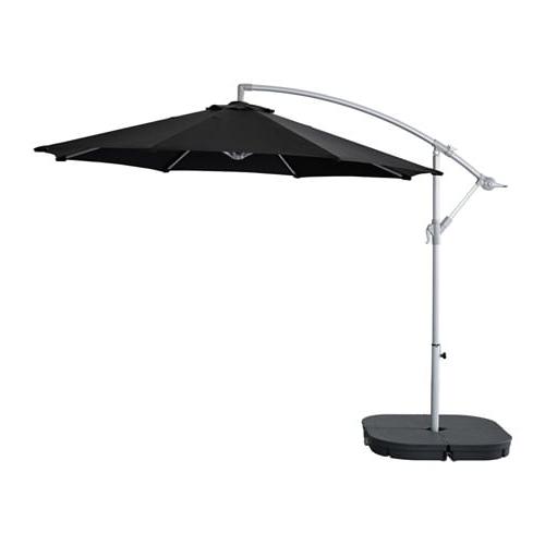 Karlsö / Svartö Offset Patio Umbrella With Base – Black/dark Gray – Ikea Regarding Latest Patio Umbrellas And Bases (View 6 of 15)