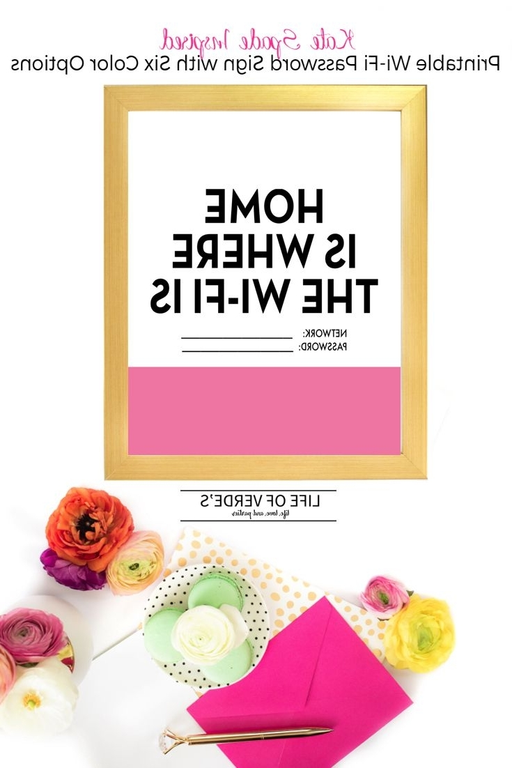 Kate Spade Inspired Printable Wi Fi Password Sign From Life Of With Regard To Most Current Kate Spade Wall Art (View 7 of 15)