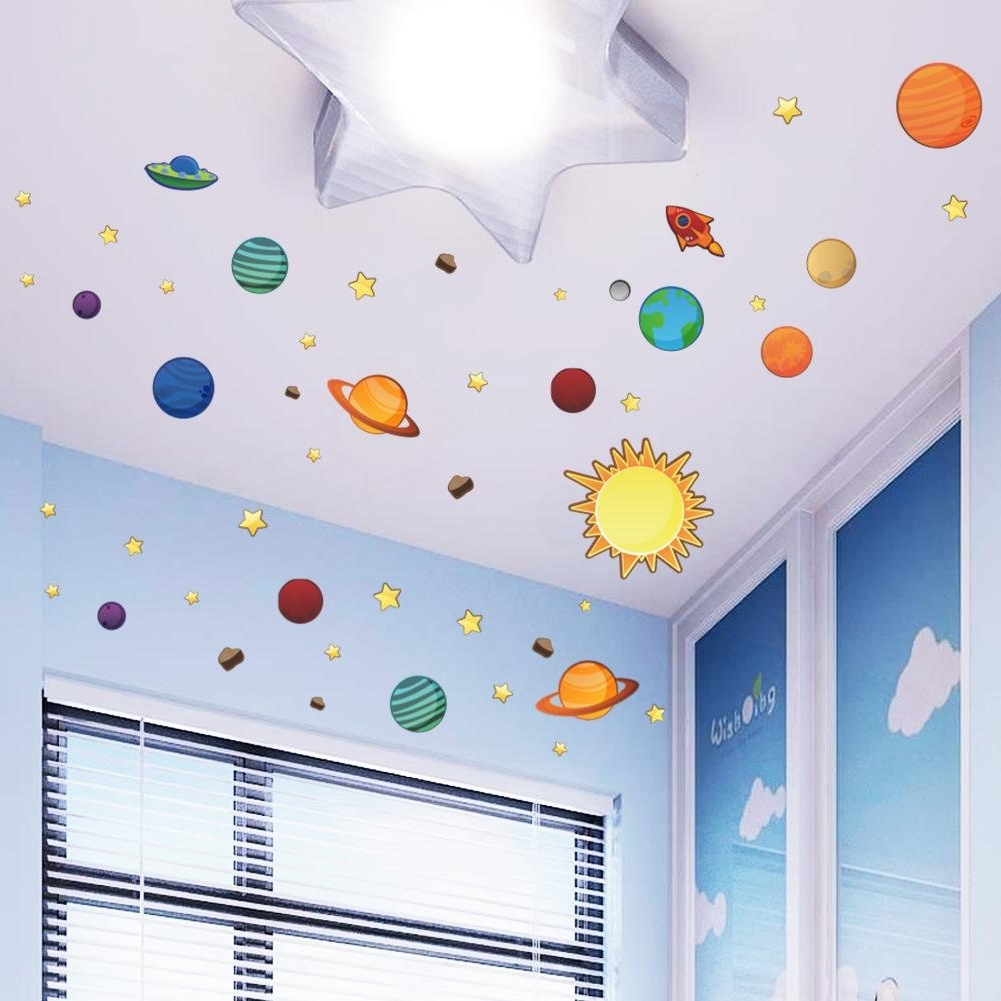 Kids Wall Art Inside Newest Universe Wall Stickers For Kids Room Nursery Adesivos De Parede Pvc (View 13 of 15)