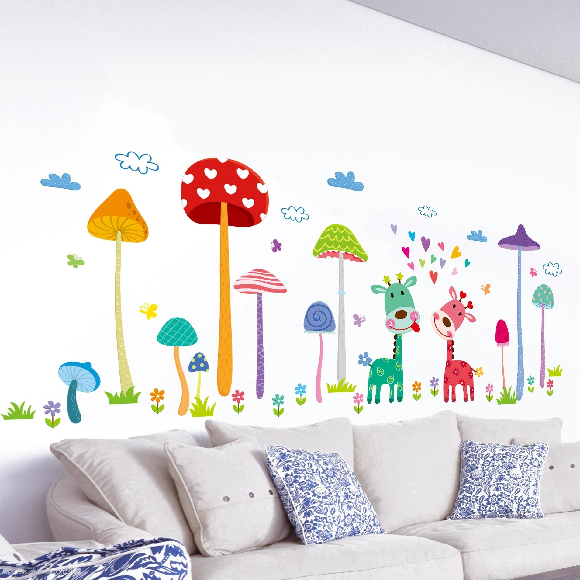 Kids Wall Art pertaining to 2017 Forest Mushroom Deer Animals Home Wall Art Mural Decor Kids Babies