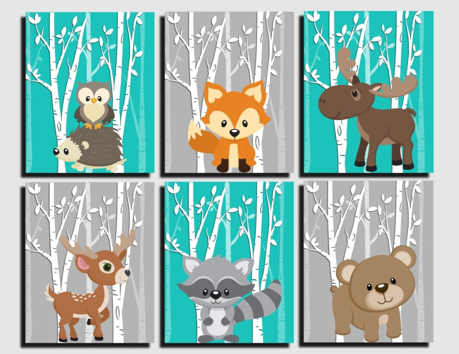 Kids Wall Art throughout Preferred Woodland Nursery, Woodland Wall Decor Kids, Teal, Gray, Forest
