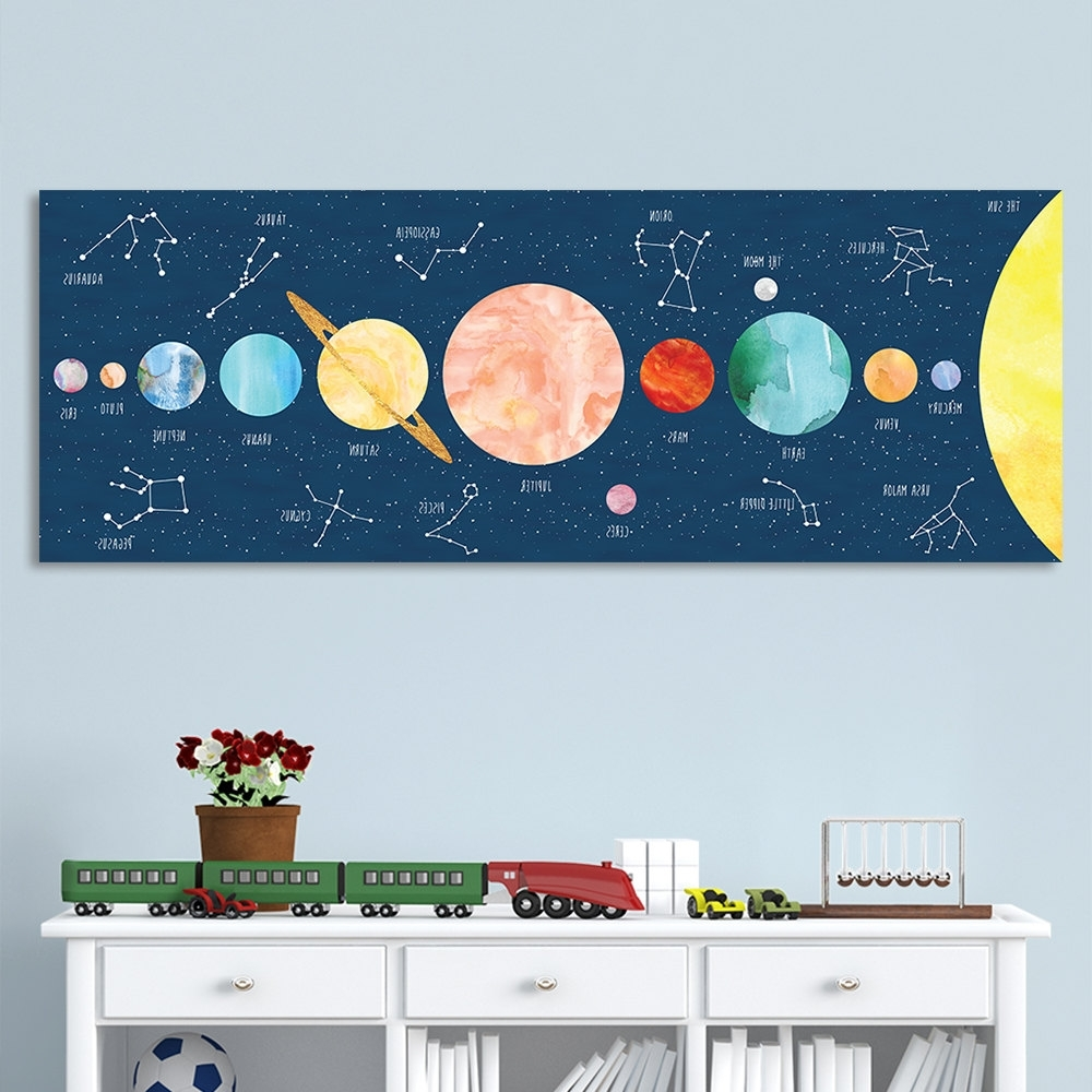 Kids Wall Art With Most Current Solar System Print For Kids, Kids Wall Art, Constellation Art (View 15 of 15)