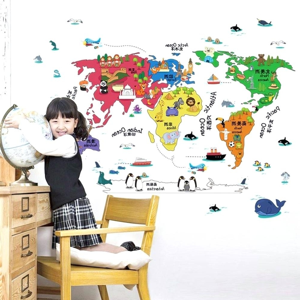 Kids World Map Wall Decal – Gutesleben Pertaining To Most Recent World Map Wall Art For Kids (View 10 of 15)