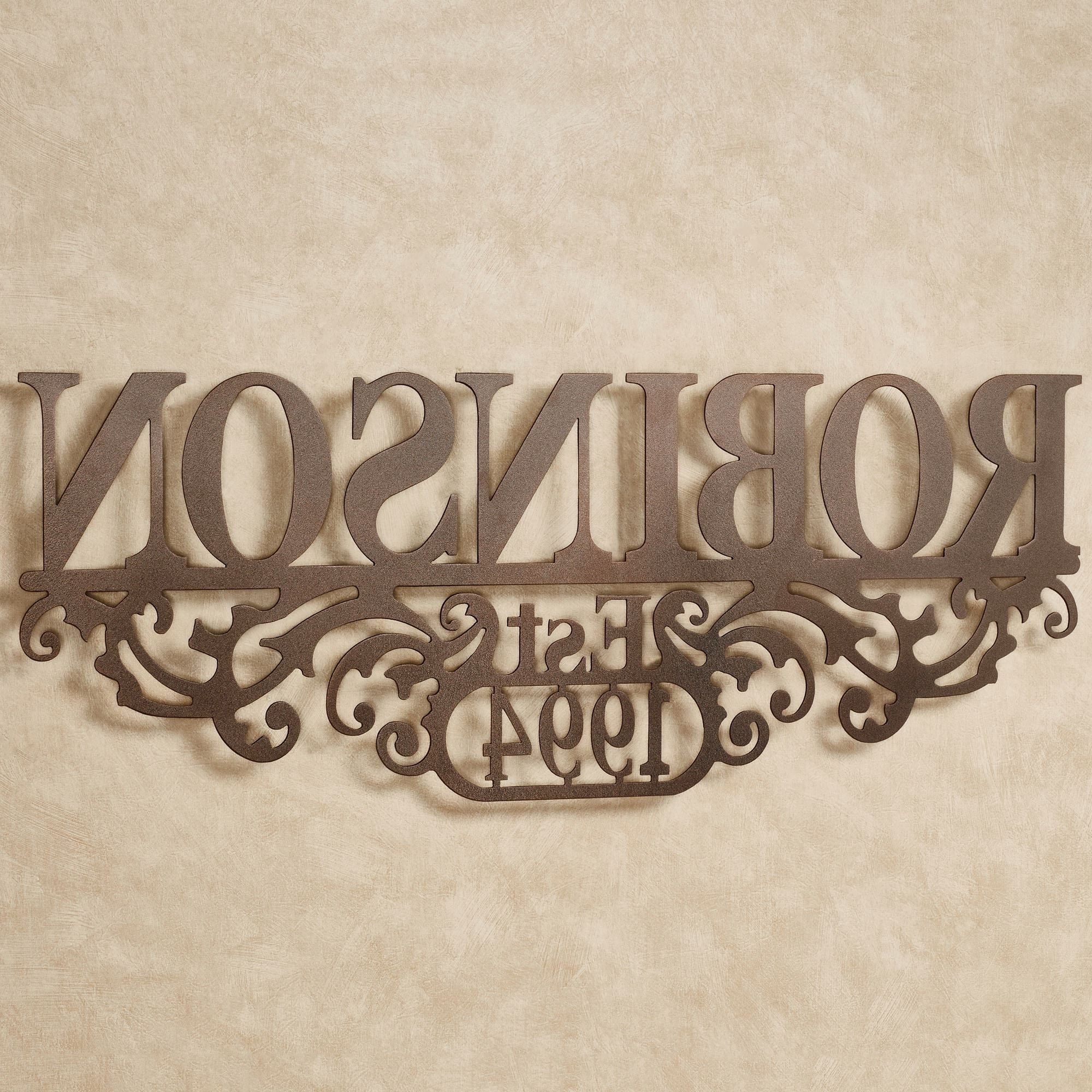 Kinship Bronze Family Name And Year Personalized Metal Wall Art Sign with Best and Newest Personalized Metal Wall Art