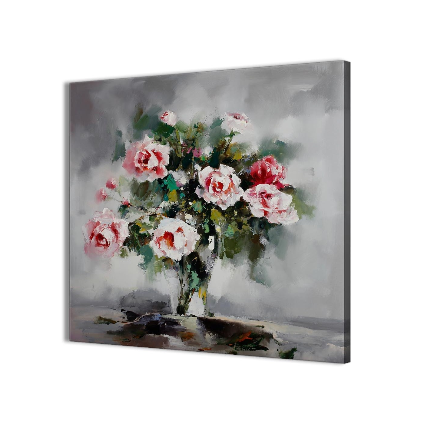Kitchen Canvas Wall Art Intended For Most Recent Pink Grey Flowers Painting Kitchen Canvas Wall Art Accessories (View 5 of 15)