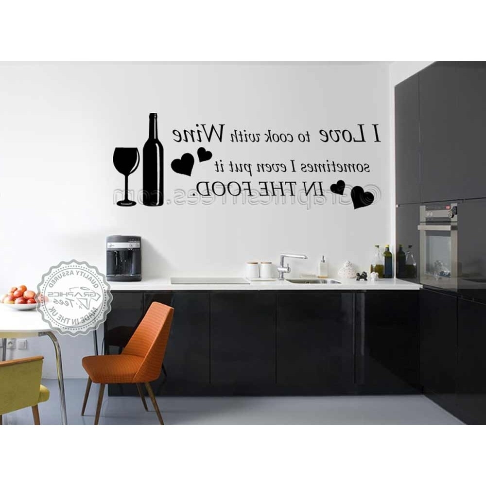 Kitchen Wall Art In Latest I Love To Cook With Wine, Kitchen Wall Art Mural Sticker Decals Quote (Gallery 15 of 15)