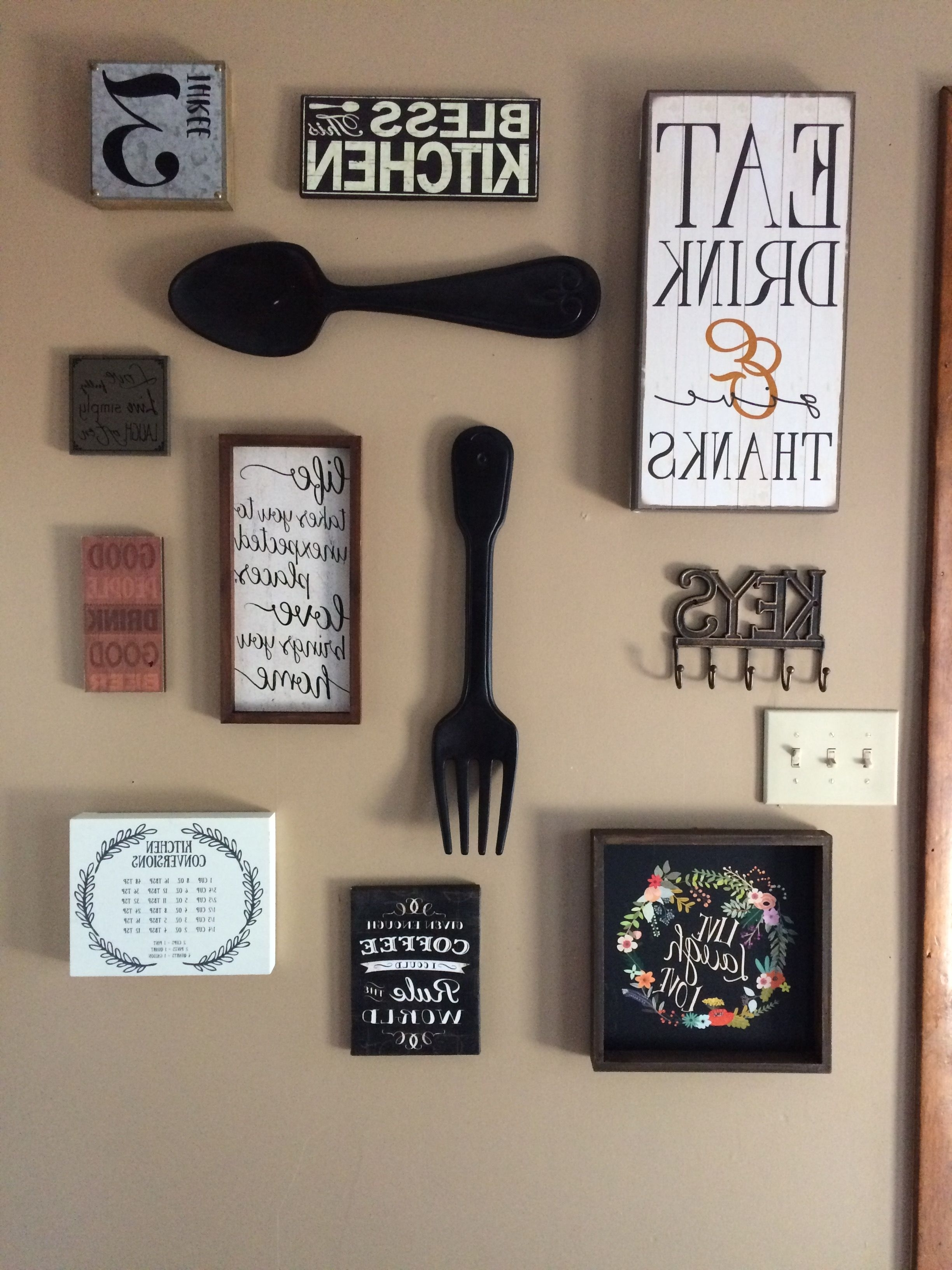 Kitchen Wall Art Regarding Trendy My Kitchen Gallery Wall. All Decor From Hobby Lobby And Ross (Gallery 1 of 15)