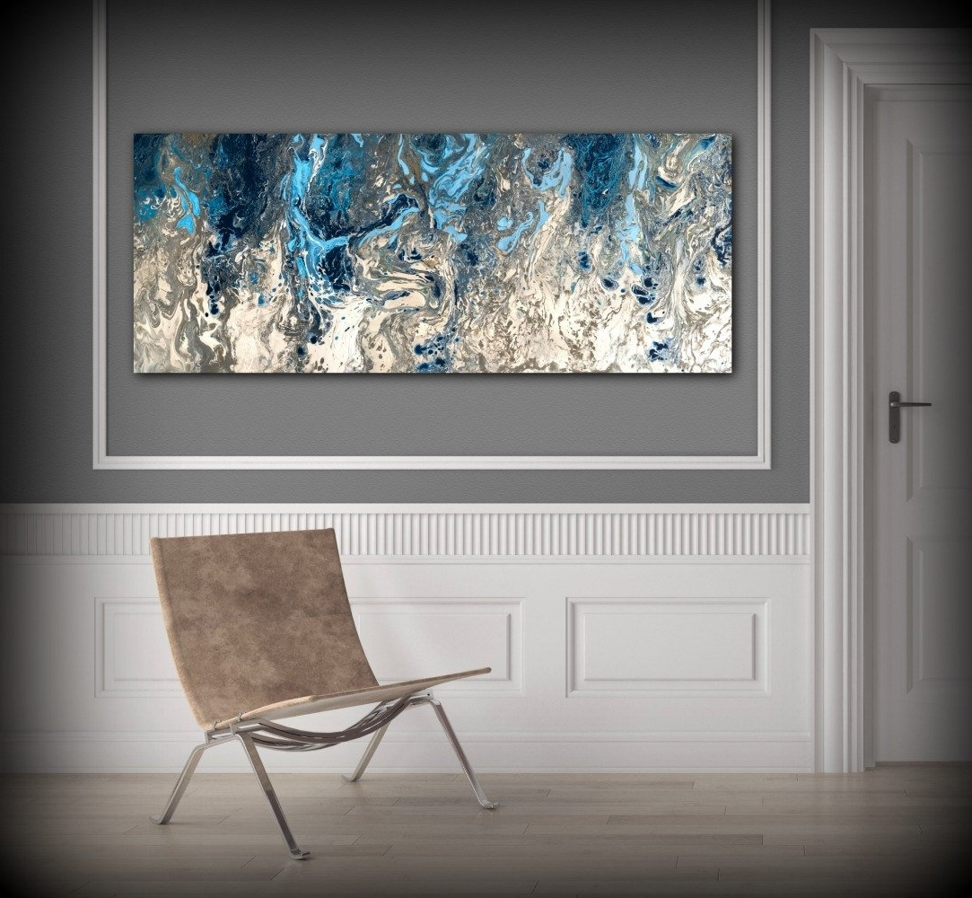 Large Abstract Painting Print Navy Blue Print Art Large Canvas Art Intended For 2018 Large Canvas Painting Wall Art (View 3 of 15)