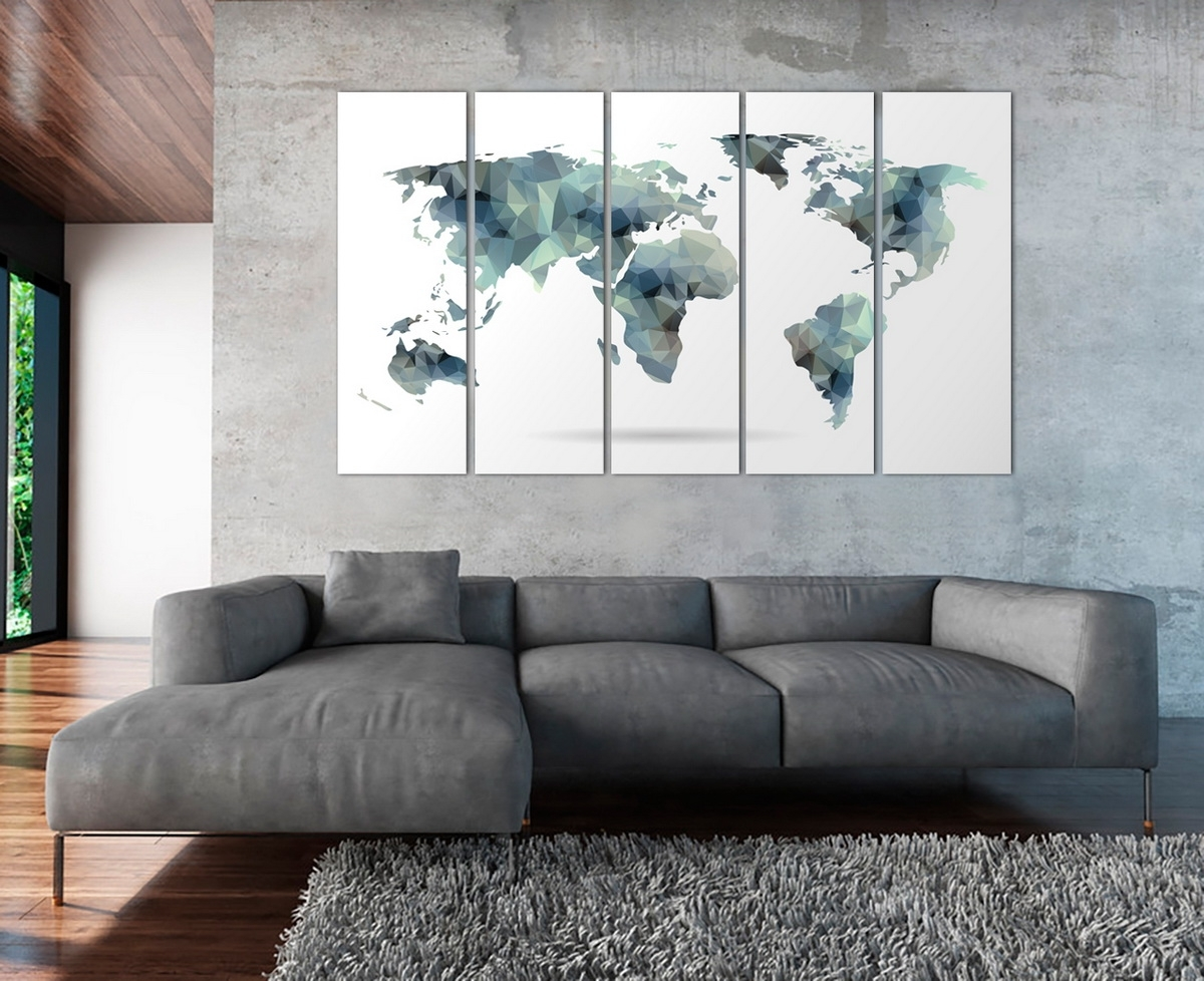 Large Abstract Wall Art With Well Known Large Abstract Grey & Blue World Map, Abstract Wall Art, Geometric (View 9 of 15)